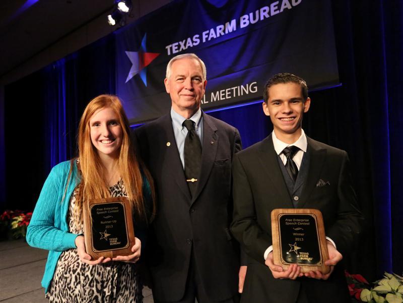 Texas Farm Bureau President Kenneth Dierschke with Free Enterprise Speech Contest winner Collin Warwick (right) and  runner-up Elli Diehl (left).